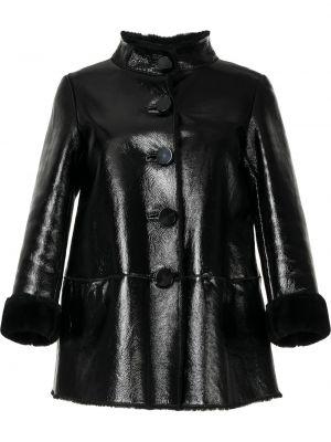 Черная кожаная куртка с воротником Moschino Pre-owned