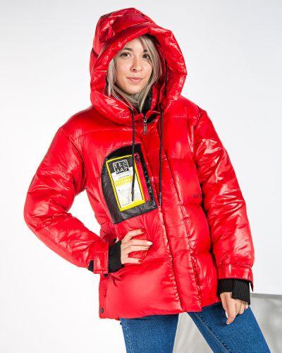 С рукавами красный брендовый пуховик T.ycamille