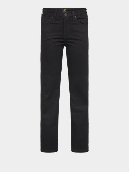 Хлопковые черные джинсы классические с высокой посадкой Lee