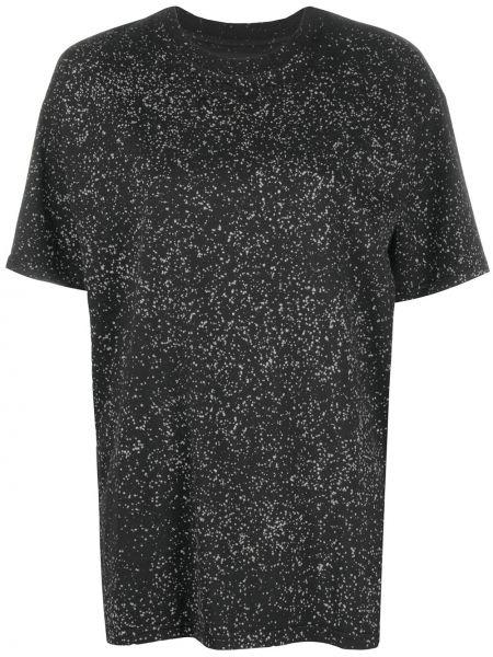 Хлопковая прямая черная футболка с круглым вырезом Ottolinger