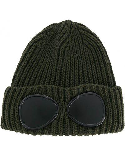 Шерстяная зеленая шапка бини в рубчик с отворотом Cp Company Kids