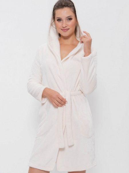 Флисовый домашний белый халат Cleo