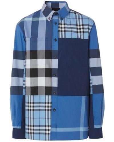 Niebieska koszula bawełniana z długimi rękawami Burberry
