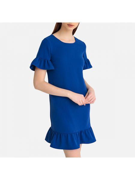 Платье мини с баской с оборками La Redoute