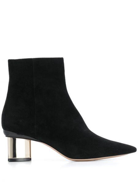 Zamsz czarny buty na pięcie z ostrym nosem na pięcie Nicholas Kirkwood
