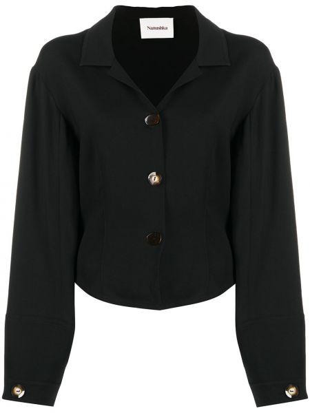 Włókienniczy z rękawami czarny bluzka z klapą Nanushka