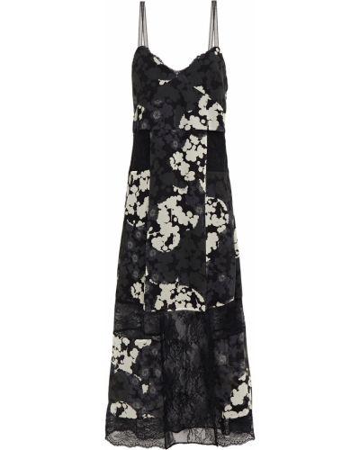 Шелковое кружевное черное платье миди Mcq Alexander Mcqueen