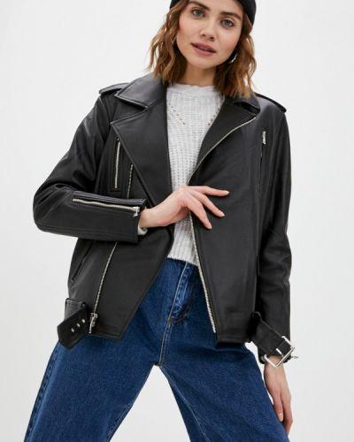 Черная кожаная куртка Major Fabric