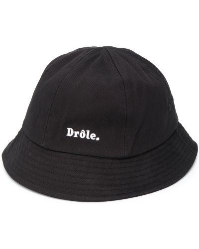Czarny kapelusz bawełniany z haftem Drole De Monsieur