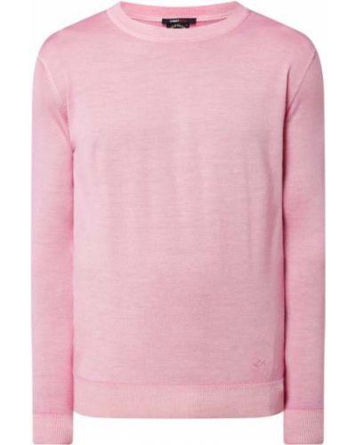 Prążkowany różowy sweter wełniany Paul & Shark
