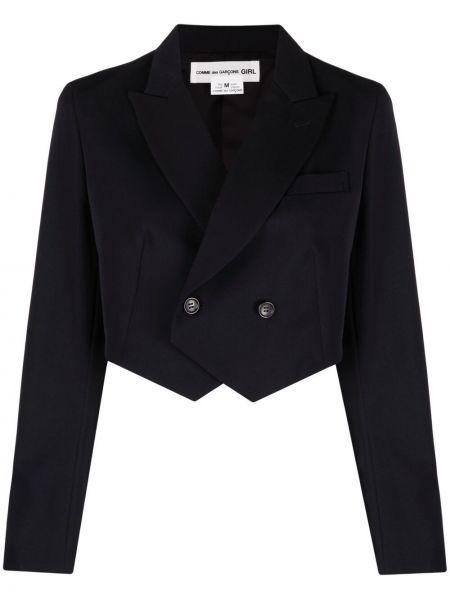 Шерстяной синий удлиненный пиджак двубортный Comme Des Garçons Girl