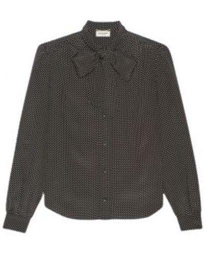 Czarna koszula nocna Saint Laurent