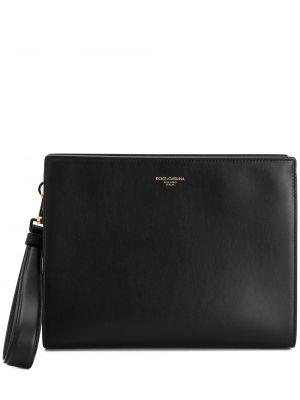 С ремешком кожаный черный клатч на молнии Dolce & Gabbana