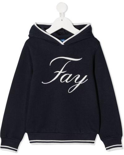Синяя хлопковая с рукавами толстовка с капюшоном Fay Kids