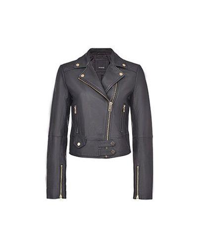 Кожаная куртка - черная Pinko