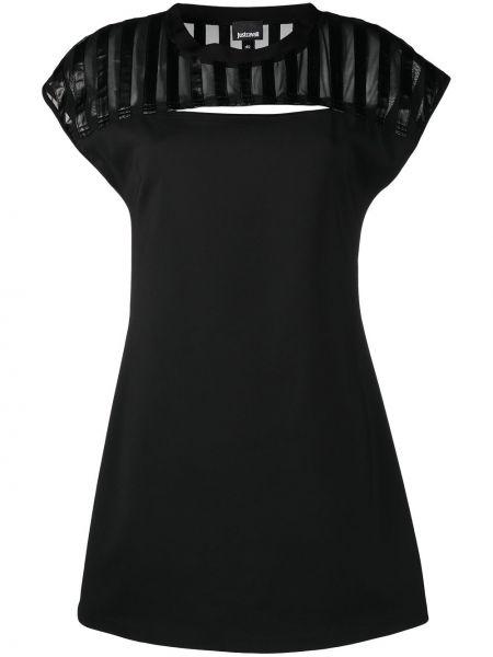 Хлопковое черное платье мини с вырезом Just Cavalli