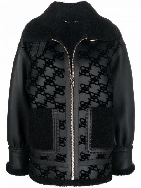 Куртка с мехом - черная Fendi