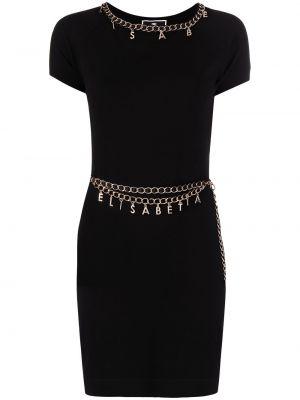 Прямое черное платье мини с короткими рукавами Elisabetta Franchi