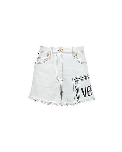Джинсовые шорты белые Versace