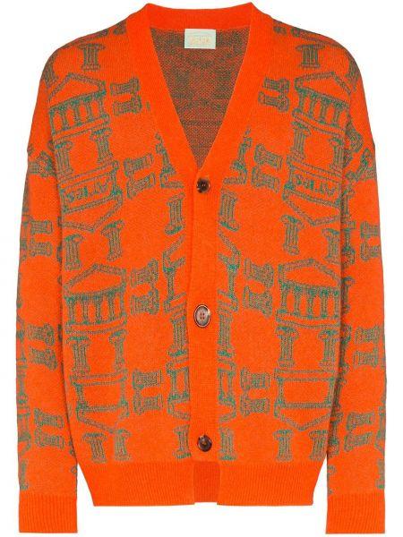 Оранжевый тонкий кардиган с вырезом Aries