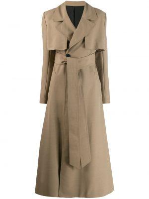 Beżowy płaszcz wełniany z paskiem Ami Paris