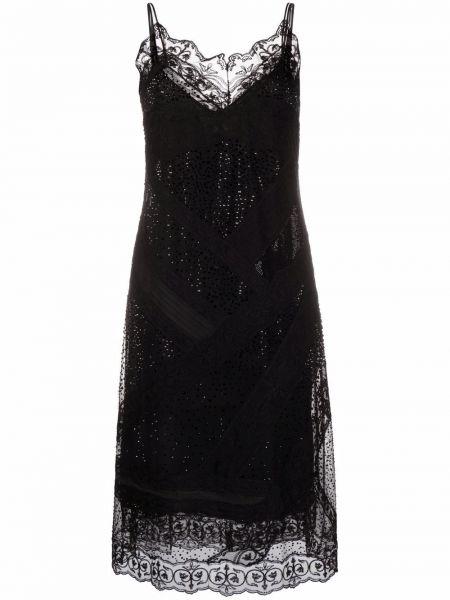 Шелковое кружевное черное платье миди Ermanno Scervino