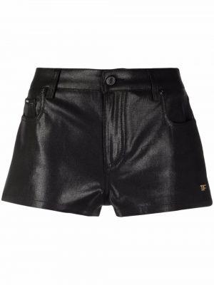 Черные кожаные шорты Tom Ford