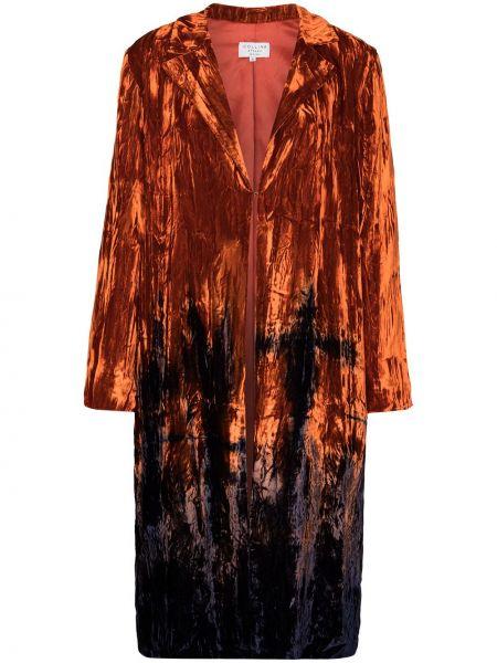 Aksamit czarny płaszcz z klapami na hakach Collina Strada