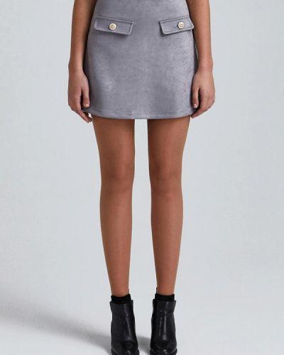 Серая плиссированная юбка мини Minimally
