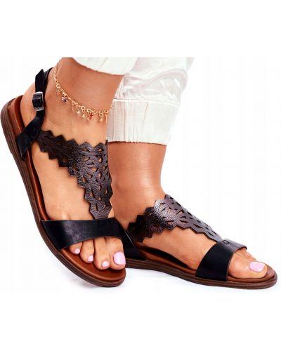 Ażurowe czarne sandały skorzane Sergio Leone