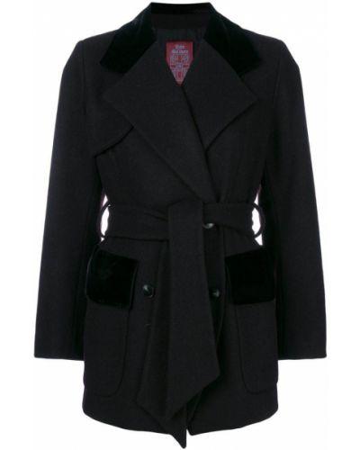 Шерстяное черное длинное пальто с капюшоном John Galliano Pre-owned