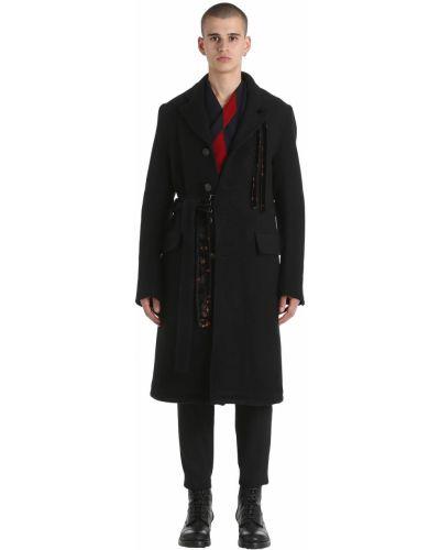 Czarny płaszcz wełniany z paskiem Damir Doma