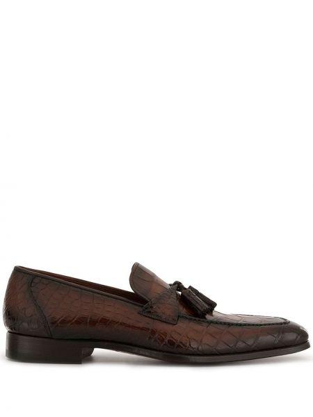 Коричневые лоферы из крокодила с кисточками на каблуке Magnanni
