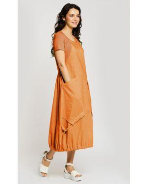 Комбинированное льняное летнее платье в стиле бохо с карманами D`imma Fashion Studio