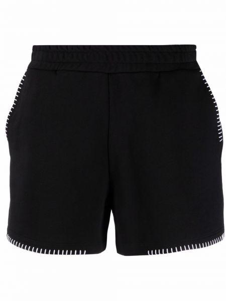 Хлопковые черные шорты с поясом Dondup