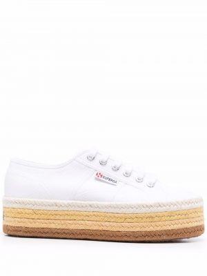 Белые резиновые кроссовки Superga