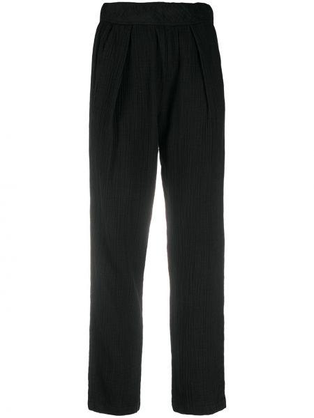Хлопковые брючные черные брюки с карманами Raquel Allegra