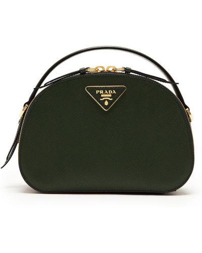 Кожаная зеленая маленькая сумка на молнии Prada