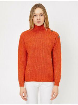 Pomarańczowy długi sweter z akrylu z długimi rękawami Koton