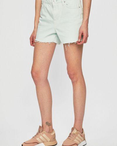 Джинсовые шорты с карманами со стразами мятные Vero Moda