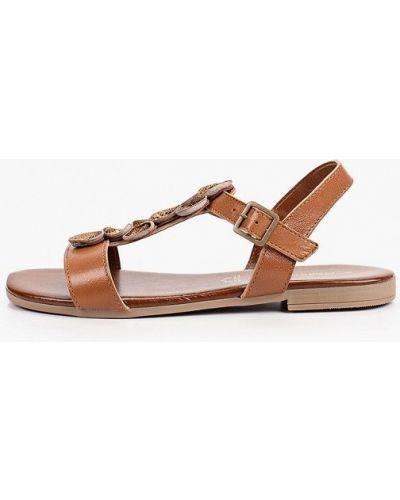 Коричневые кожаные сандалии Marco Tozzi
