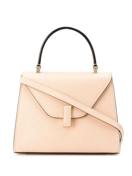 Кожаная золотистая розовая маленькая сумка Valextra