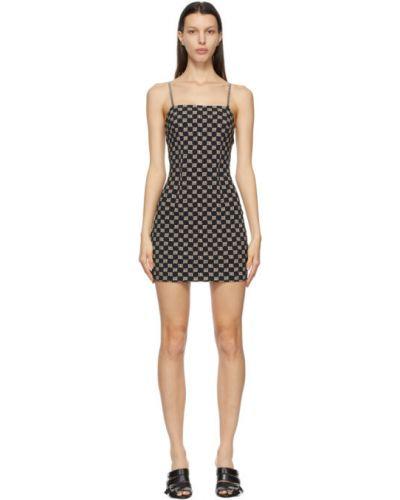 Czarna sukienka mini bez rękawów srebrna Misbhv