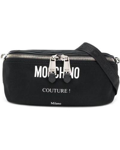 Klasyczna czarna torba na ramię skórzana Moschino