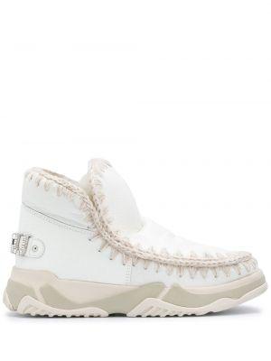 Кожаные белые высокие кроссовки без застежки Mou