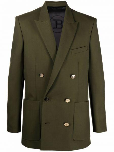 Зеленый шерстяной пиджак Balmain