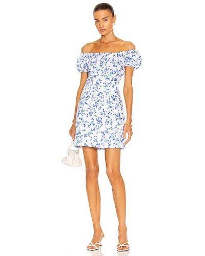 Платье мини с декольте - синее Caroline Constas