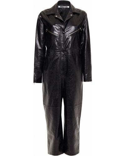 Кожаный черный комбинезон с карманами Mcq Alexander Mcqueen