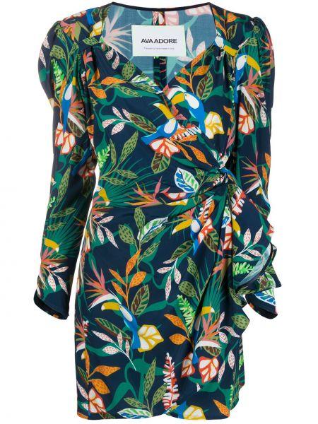 С рукавами зеленое платье макси с запахом Ava Adore