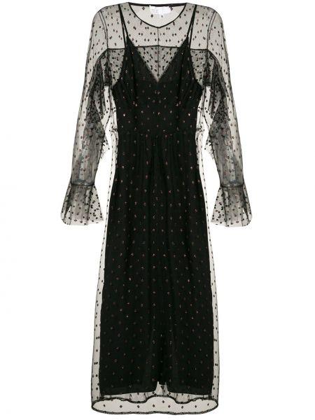 Платье миди на молнии черное НК